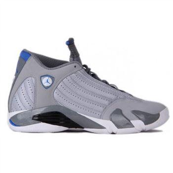 9f253676ce835d Authentic 487471-004 Air Jordan 14 Retro Wolf Grey White-Sport Blue